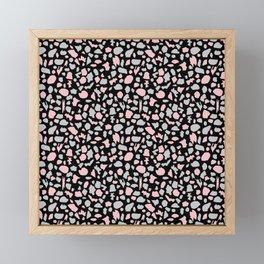 Terrazzo in Pink and Gray on Black Framed Mini Art Print