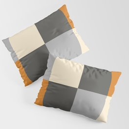 Minimal Abstract Vintage Cream Orange Grey 14 Pillow Sham