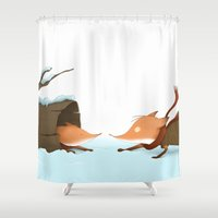 foxes Shower Curtains featuring Foxes by Ramona Treffers