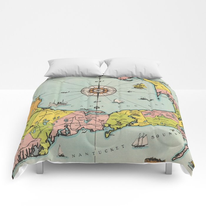 Vintage Map of Cape Cod Comforters