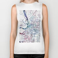 memphis Biker Tanks featuring Memphis map by MapMapMaps.Watercolors