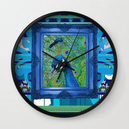Peacock in Frame with Stripes pattern Wall Clock