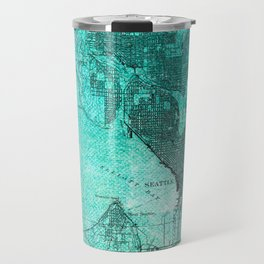 Turquoise Seattle Map Design Travel Mug