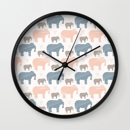 Pink and Blue Kids Elephants Silhouette Seamless Wall Clock