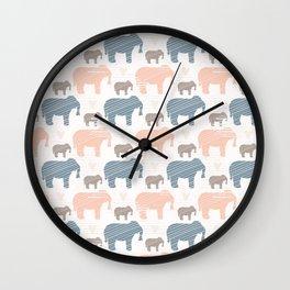 Pink and Blue Kids Elephants Silhouette Seamless Wall Clock