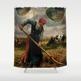 Imminent contact Shower Curtain