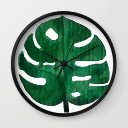 Tropical Monstera Green Leaf Wall Clock