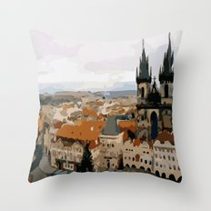 Prague CZ street view Throw Pillow
