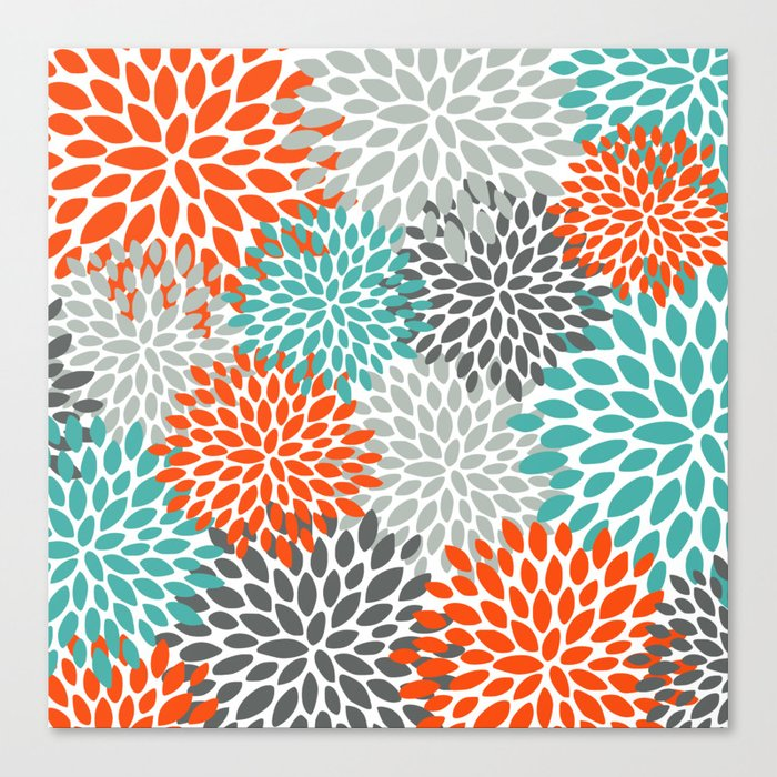 Floral Pattern, Abstract, Orange, Teal and Gray Leinwanddruck