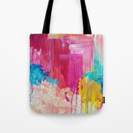 ELATED - Beautiful Bright Colorful Modern Abstract Painting Wild Rainbow Pastel Pink Color Tote Bag