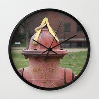 hat Wall Clocks featuring Hat by Caren Lewis