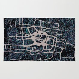 Modern abstract original mixed media (sumi ink and recycled hole punch paper) 'monacle dot' Rug