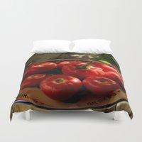 vegetables Duvet Covers featuring Red vegetables by Svetlana Korneliuk