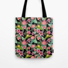 Tropical Palm Lovebird Floral Tote Bag