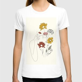 Colorful Thoughts Minimal Line Art Woman with Flowers III T-shirt