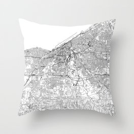 Cleveland White Map Throw Pillow