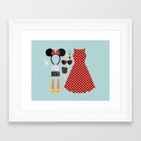 minnie mouse Framed Art Prints featuring Minnie Mouse Flatlay by laurenschroer