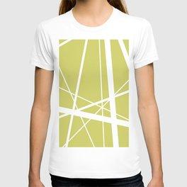 Mikado pattern graphic lines pastel yellow T-shirt