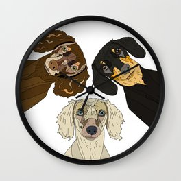 Triple Doxies Wall Clock