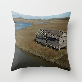 Bald Head Creek Boathouse | Bald Head Island, NC Throw Pillow