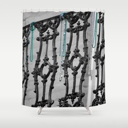 Old balcony in New Orleans, after Mardi Grass Shower Curtain