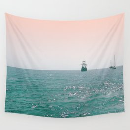 Pirate ship at sea Wall Tapestry