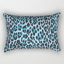 Animal Print, Spotted Leopard - Blue Black Rectangular Pillow