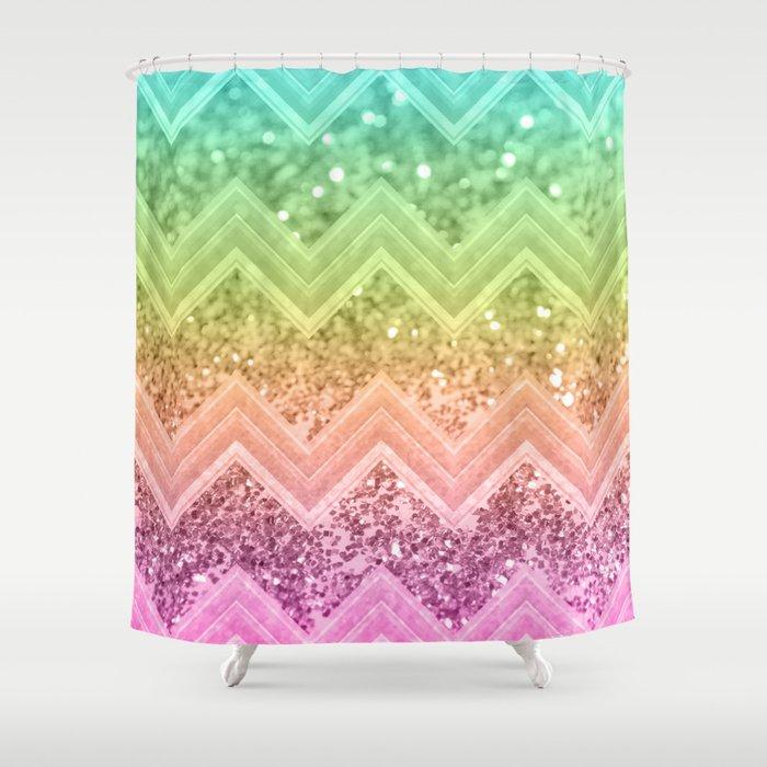 Rainbow Glitter Chevron 1 Shiny Decor Art Society6 Shower Curtain