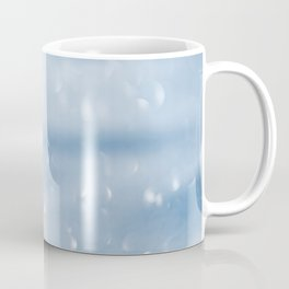 Blue sparkly defocused snowflakes Coffee Mug