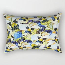 Delightful Summer Painted Pansies Rectangular Pillow