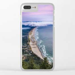 A Crescent Shaped Beach From High Atop Neahkahnie Mountain in Oswald West State Park, Oregon Clear iPhone Case