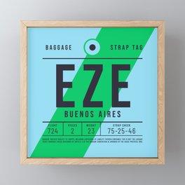 Baggage Tag E - EZE Buenos Aires Ezeiza Argentina Framed Mini Art Print