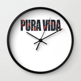 Pura Vida Simple Life CostaRica Vacation Beaches Ocean Sailing Swimming Gifts Wall Clock