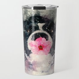 Dog with Flower Travel Mug