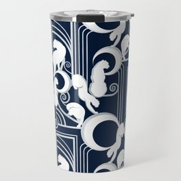 Deco Gatsby Panthers // navy and silver Travel Mug
