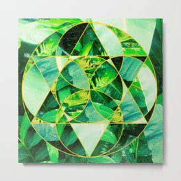 Hawaiian Jungle Abstract Mosaic Metal Print