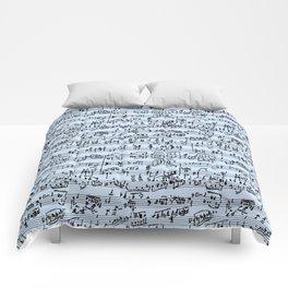 Hand Written Sheet Music // Light Blue Comforters