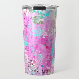 Pink Abstract with Coral Travel Mug