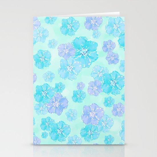 Blossoms Aqua Blue Mint Stationery Cards