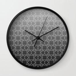 Geometry Star Pattern Black White Wall Clock