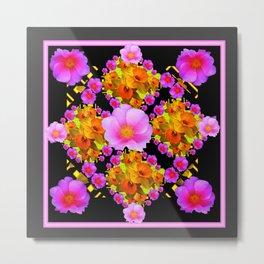 Wild Pink & Fuchsia Roses Daffodil Grey Pattern Metal Print