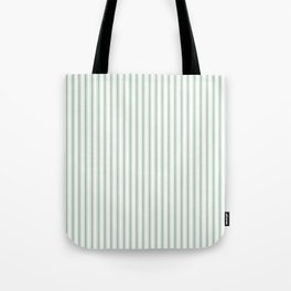 Mattress Ticking Narrow Striped Pattern in Moss Green and White Tote Bag