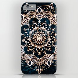 Glowing Spirit Mandala Blue White iPhone Case