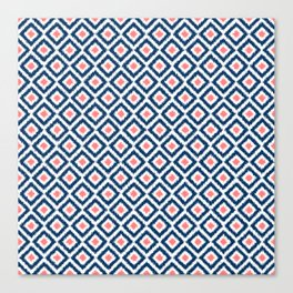 Navy Blue and Coral Diamond Ikat Pattern Canvas Print