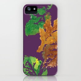 Four Autumn Leaves in brown gold green plum purple iPhone Case