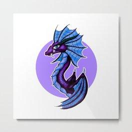 Purple Water Dragon White Background Metal Print