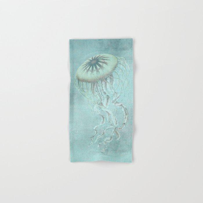 Jellyfish Underwater Aqua Turquoise Art Hand & Bath Towel