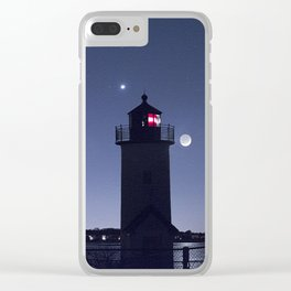 Moon Venus and the Annisquam Lighthouse Clear iPhone Case