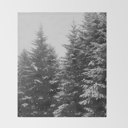 The Pine Tree Forest (Black and White) Throw Blanket