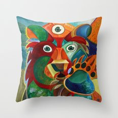 Three Eyed Bear Throw Pillow